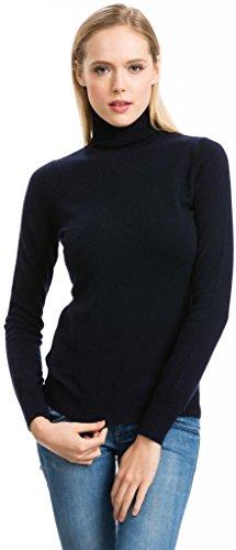 Citizen Cashmere Turtleneck Sweater– 100% Cashmere (Navy, L 41 ()