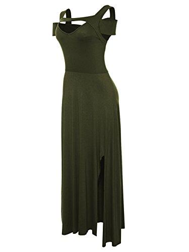 de Longues Robe Verte Froide paule Pleine col soire Femmes V KISSMODA Manches Arme Formelle Longueur xHgvqw