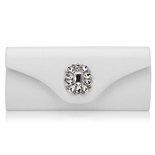 White Jeweled Handbag - Marswoodsen Fashion White Evening Clutches Purse for Womeen Rhinestone PU Leather Handbag for Cocktail Party Wedding