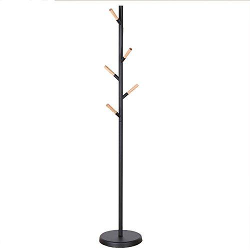 LCH Free Standing Wood Hooks Metal Hall Tree Hat Purse Jacket Coat Rack Stand W/Round Base (YM-NJY09-Black)