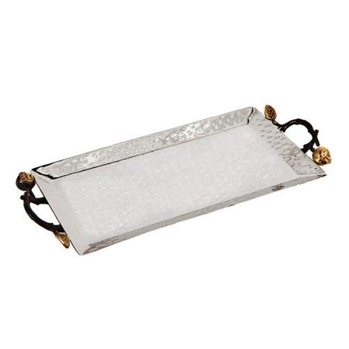 - Yair Emanuel Serving Tray Hammered Stainless Steel - Pomegranate Designed Handles 8