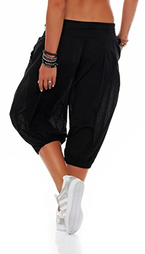 3416 Pantalon Aladin Taille Une Sweat Malito Noir Baggy Femmes Ceinture Bombacho Boyfriend Short Avec zwEYq