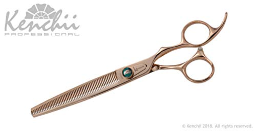 (Kenchii Rose Gold Deluxe Grooming Shears Great Grooming Shears for All Breeds (54 Tooth Thinner) )