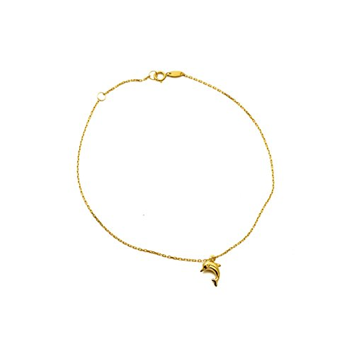 LoveBling 10K Yellow Gold .50mm Diamond Cut Rolo Chain w/Dolphin Charm Anklet Adjustable 9
