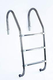 Escada de 3 Degraus Inox com Ponteira ABS