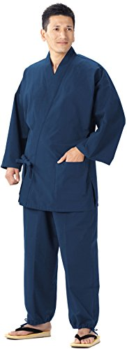 Samue (This is something you can wear at home & Work clothes) made in Japan KurumeImportJapanese clothes size (Blue, L) -