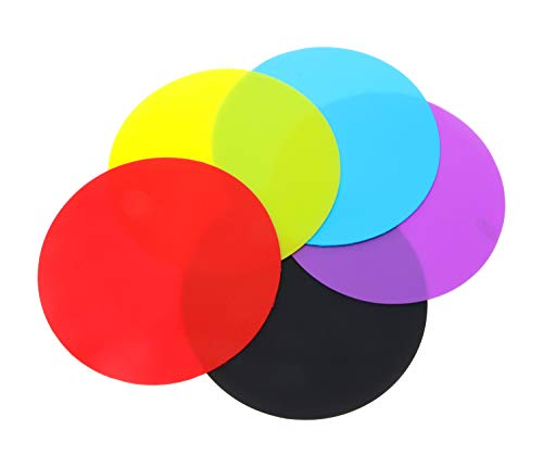 Penta Angel 5pcs Rubber Jar Gripper Pads Multicolor Round Kitchen Table Coasters Non Slip Bottle Lid Opener for Home Office School Bar, 5 Colors