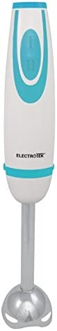 ELECTROTEK Batidora de mano de 2 velocidades, varilla y cuchillas de acero inoxidable ET-BM200SS. Disponible en 2 colores: Azul y naranja. Incluye vaso medidor.