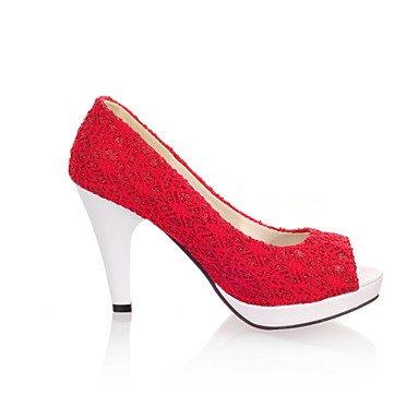 Talones de las mujeres Primavera Verano Otoño Otros Tul Fiesta y Noche del vestido ocasional de tacón grueso Negro Rosa Blanco Beige Red