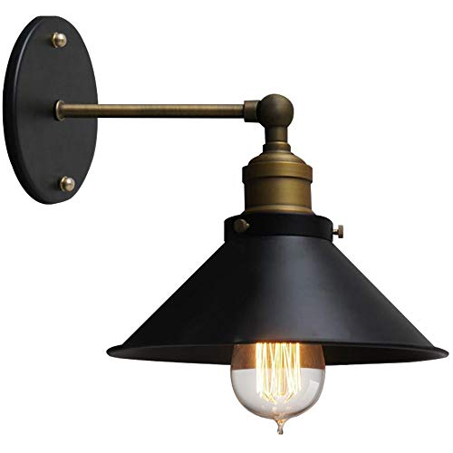 TheMonday Retro Black Metal Wall Sconce Lights Creativity Adjustable Wrought Iron Wall Lamp Indoor Lighting Fixture Bedroom Bedside Staircase Balcony Single Head Led Wall Light