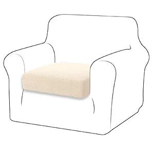 TIANSHU Housse de Coussin Extensible Coussin de canapé Housse de Protection pour Meubles Housse de siège de canapé pour canapé Housse de Coussin 1 Place pour Chaise (1 Place, Blanc Ivoire)