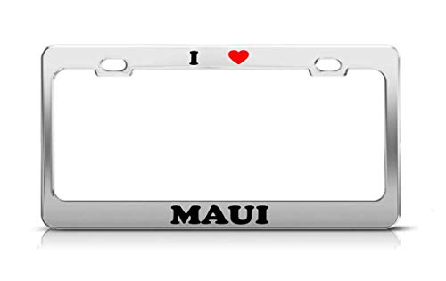 ABLnewitemFrameFF I Heart Maui Hawaii Volcanoes Metal Auto License Plate Frame Tag Holder