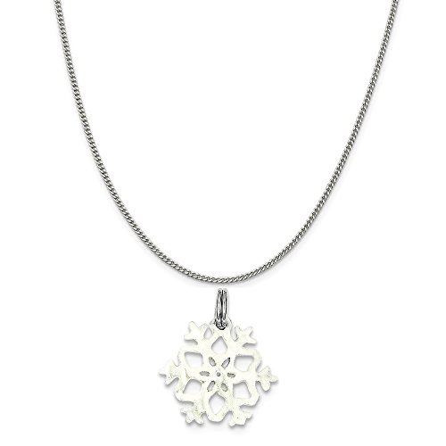 Mireval Sterling Silver Enameled Snowflake Charm on a Sterling Silver Curb Chain Necklace, - Snowflake Enameled Charm