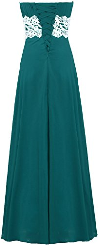 Long Dresses Strapless Chiffon Teal Homecoming Lace Women's ANTS Bridesmaid waY1qX
