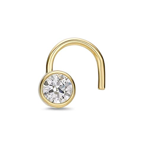 Lavari - 14K Yellow Gold 2mm Cubic Zirconium Nose Ring Curve Stud Twist Screw Bezel 22G