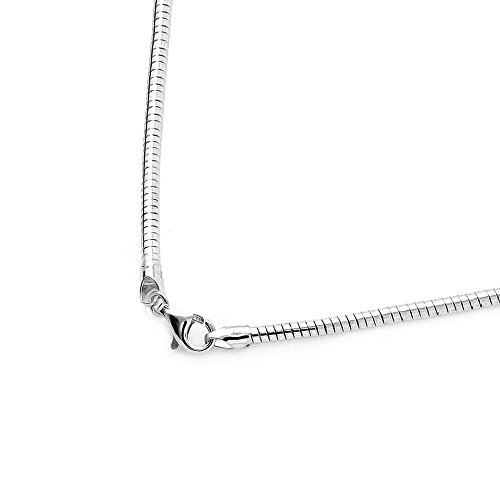1mm, 1.2mm, 1.5mm, 2mm Sterling Silver Round Omega Chain Necklace, Made in Italy (2.0mm-16
