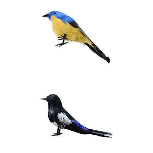 MagiDeal Artificial Magpie+Small Bird Feathered Realistic Garden Home Decor Ornament