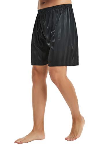 Lonxu Mens Silk Satin Shorts Boxer Black Striped 3XL