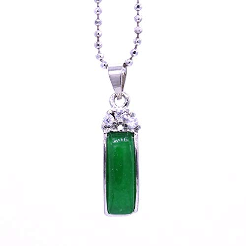 (Crystal Pendant Necklace for Women |White Chain | Gold Rectangle Green Stone | Charm Birthday Gift)