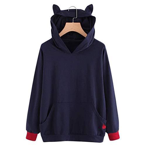 2 Abbigliamento Laterali Manica Ricamo Pullover Donna Sweatshirt Tasche Lunga Moda Hoodie Felpa Felpe Con Tempo Eleganti Cappuccio Autunno Invernali Sciolto Libero Rot n0FPZ1qTW