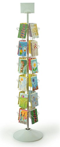 "24-Pocket Greeting Card Display Rack Spinner for 5 x 7 Cards, 68""h Floor-Standing Fixture with Rotating Design - White Welded Wire with Plastic Base and Sign Holder"