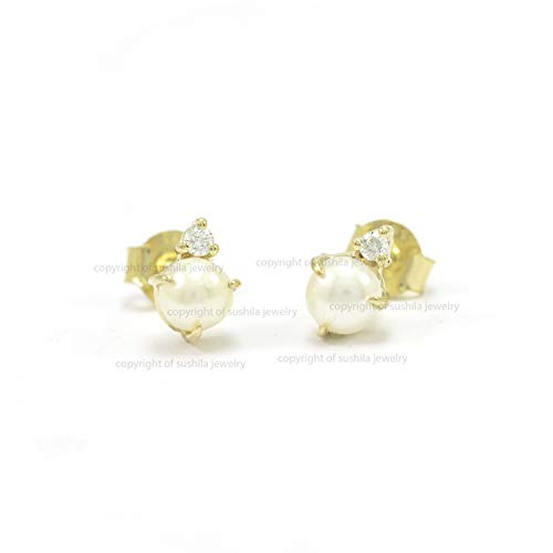 Natural Pearl & Diamond Stud Earrings in 14k Yellow Gold Handmade Wedding Earrings Jewelry Gift