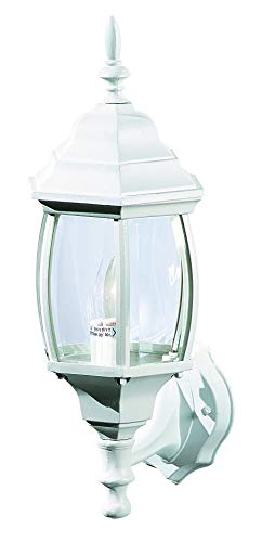 NOMA Four-Sided Outdoor Wall Lantern | Waterproof Outdoor Up-Facing Exterior Light for Front Door, Backyard, Garage, Patio or Décor | White Finish with Bevelled Glass Panels