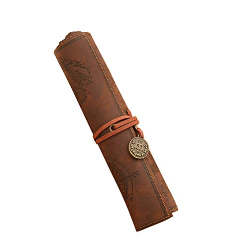 NiceWave Pencil Case Personalized Pencils Vintage Style Leather Scroll Treasure Map Creative Present Office Bag School Adults Boys Girls Brown Nice - Case Scroll