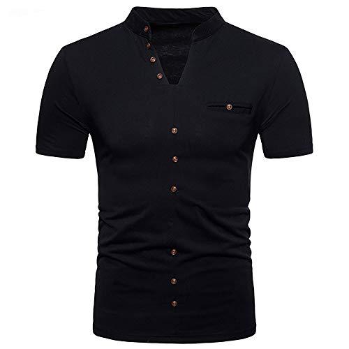T Manches Hommes Repassage Chemise Business Courtes Unie Amlaiworld Sans Noir shirt À Casual Couleur qpBPCw