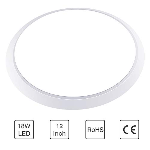 Neporal-LED-Ceiling-Light-Fixture, 12 Inch 18W 6000K Flush Mount Light Fixture, Modern Light Fixture for Hallway, Kitchen, Bedroom, Balcony(Anti-Mosquito, dust, Moisture)