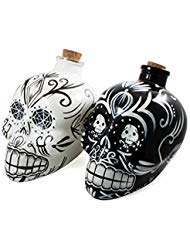 (Bar Amigos Double Pack Black & White - Mexican Painted Candy Skulls Sugar Art Shaped Themed Glass Top Decanter & Cork Stopper Can Be Used For Wines And Spirits And)