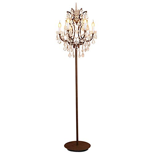 Rust Chandelier - 6 Lights Clear Crystal Metal Body Floor Lamp 18