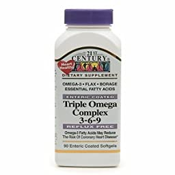 21st Century Enteric Coated Triple Omega Complex 3-6-9, Reflux Free 90 Softgels