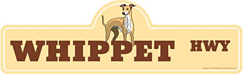 SignMission Whippet Street Sign | Indoor/Outdoor | Dog Lover Funny Home Décor for Garages, Living Rooms, Bedroom, Offices Personalized Gift | 24