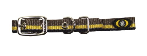 Hamilton Single Thick Deluxe Dog Collar with Reflective Threads, 5/8 by 18-Inch, Brown/Gold/Black