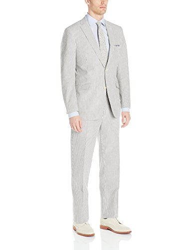 U.S. Polo Assn. Men's Seersucker Nested Suit, Charcoal, 44 Regular Seersucker Zip Jacket