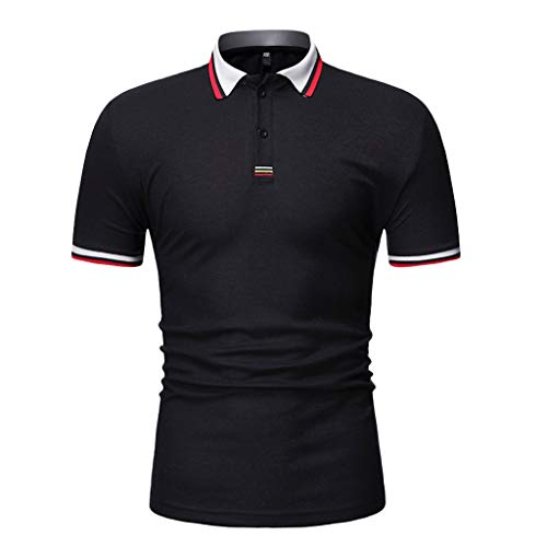 JJLIKER Mens Short Sleeve Polo Shirt Cotton Regular Fit T-Shirts Casual Slim Fit Tops Solid Button Basic Sport Golf Tees Black