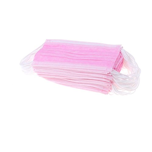 100 Pcs Disposable Face Masks Dust Fog Bacteria Filter Earloop Masks 3 Layer Non-woven Fabric Mouth Cover For Dental,Surgical,Medical (pink)