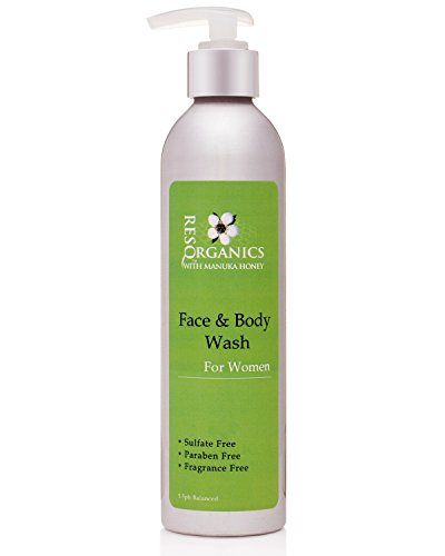 ResQ Organics Gentle Facial Cleanser & Body Wash - All Natural Way To Clean and Moisturize With Aloe Vera, Natural Healing Manuka Honey and Organic Ingredients - Perfect Make-up Remover or Shaving Cre