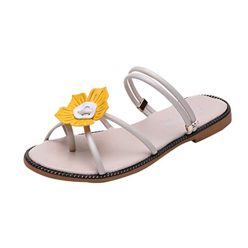 YKARITIANNA Summer Women Ladies Bohemia Beach Flower Round Toe Sandals Slippers Shoes  2019 Summer Beige ()