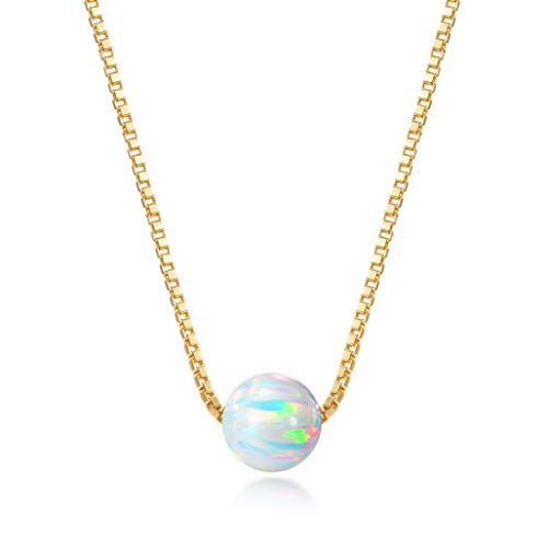 (Choker Necklace - 18k Gold Dipped Sterling Silver Box Chain with 6mm Created Opal Ball Pendant )