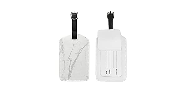 Aibileen Marble Luggage Tag Travel ID Label Leather for Baggage Suitcase 1 Piece Set