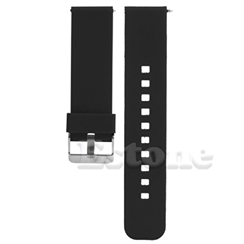 SCASTOE 22mm Release Silicone Watchband Watch Band Strap for Smart Watch Motorola MOTO 360 Black
