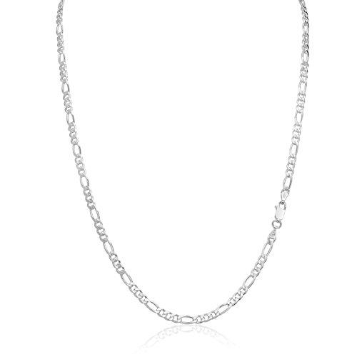 Silver Sterling Mens Chain Figaro (Men's 3.5mm 100 Gauge Figaro Chain Solid .925 Sterling Silver Necklace, 22 Inch)