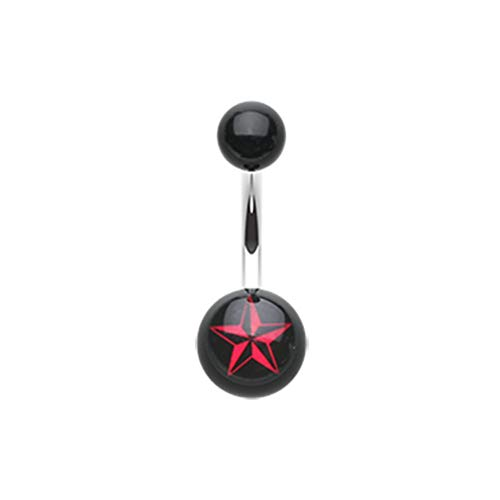 14 GA Nautical Star Acrylic Belly Button Ring 316L Surgical Stainless Steel Body Piercing Jewelry For Women And Men Davana Enterprises
