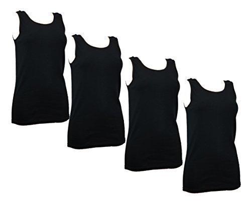 4er Damenhemd Vollachsel, ärmellos, schwarz, Unterhemd, T - Shirt, 100% gekämmte Baumwolle, 52/54