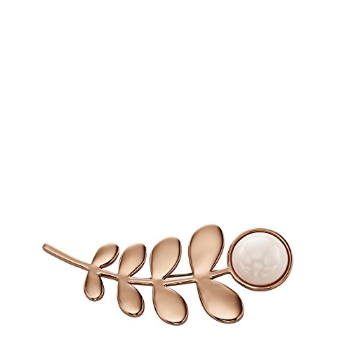 Feuille de Plaqué or rose et pierre Broche