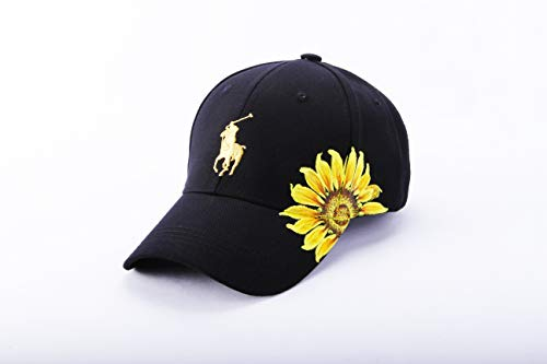 Hand Painted Polo Sunflower Floral Baseball Cap Women Boho Bride Trucker Hat Wedding Birthday Gift Cute Flower Black Red White Summer Travel Hat Beach Hike Unique Wife Girl Friend Mom Anniversary Gift