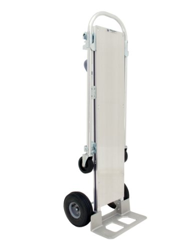 Plate Extruded Nose Aluminum - RWM Casters Aluminum Convertible Hand Truck with Loop Handle and Aluminum Deck, Pneumatic Wheels, Extruded Aluminum Nose Plate, 500 lbs Load Capacity, 61