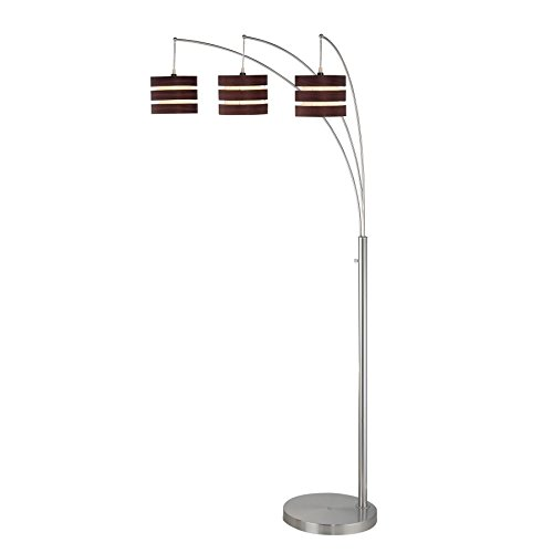 Lite Source LS-80708 3-Lite Arch Lamp, Polished Steel with Wood Finished Paper Shade (Lite Paper Source)